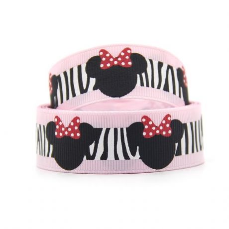 1 METRE BABY PINK ZEBRA PRINT MINNIE MOUSE RIBBON SIZE 7/8 HEADBANDS HAIR BOWS CRAFTS